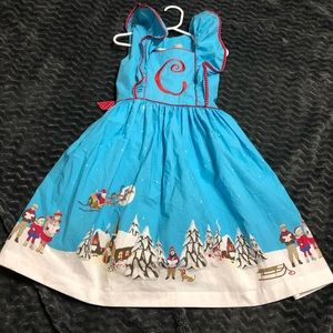 C monogram Santa ruffle sleeve Eleanor Rose dress
